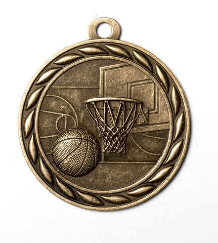 "MS334 Sports Medal - Basketball 2"" with Ribbon"
