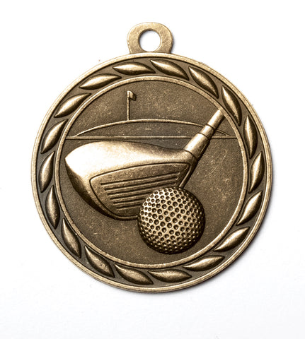 "MS340 Sports Medal - Golf 2"" with Ribbon"