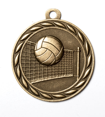 "MS355 Sports Medal - Volleyball 2"" with Ribbon"