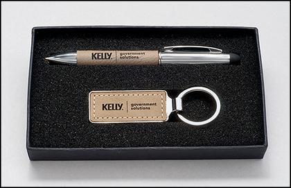 Taupe Leather Gift Pen Set and Key Chain #PKC6427