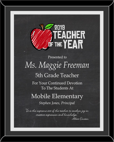 Teacher of the Year Plaque - Full Color