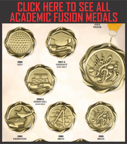 "Fusion Academic Medals 3"" with Ribbon"