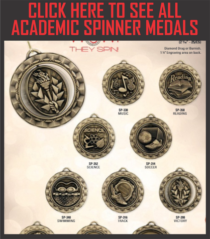 "Spinner Series Academic Medals 2.25"" with Ribbon"