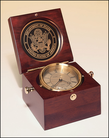 Captain's Clock - Mahogany Finish Case w/ Solid Brass Clock Housing #BC73