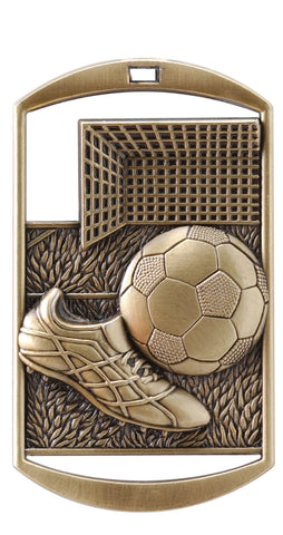 "DT-213 Dog Tag Soccer Medal 2.75"" with Ribbon"