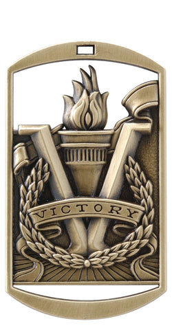 "DT-290 Dog Tag Victory Medal 2.75"" with Ribbon"