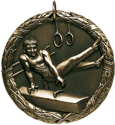 "XR-245 Gymnastics Male Medal 2"" with Ribbon"