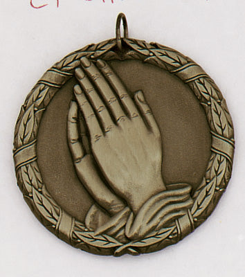 "XR-277 Praying Hands Medal 2"" with Ribbon"