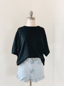 BLACK <BR> POCKETED TEE