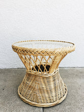 vintage wicker round glass top side coffee table