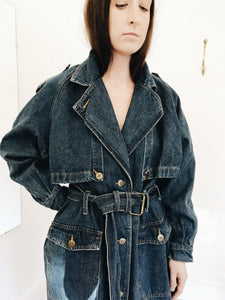 arlee park vintage denim trench coat jacket western duster fall spring