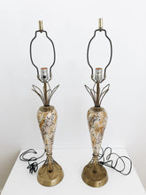 arlee park vintage set of two porcelain and brass lamps