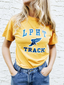 vintage yellow blue cotton track field tee t shirt