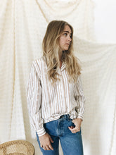 vintage tan white stripe button down shirt
