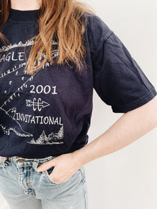 arlee park vintage navy blue eagle cc invitational tee