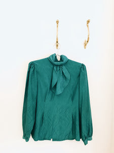 vintage teal bow neck high neck ruched blouse