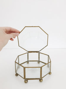 vintage brass glass display box
