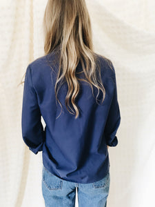 vintage indigo blue puccini button down blouse shirt