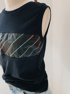 BLACK TANK WITH <BR> RAINBOW STRIPES