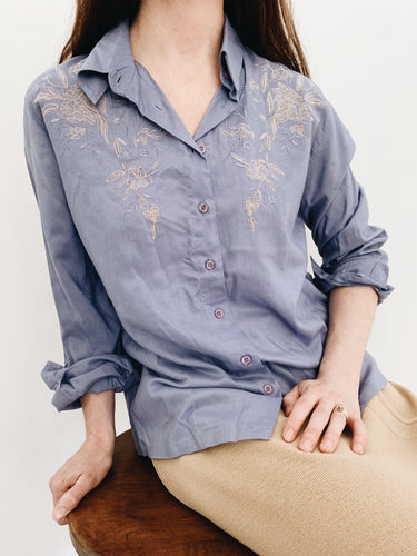 arlee park vintage floral embroidered periwinkle button-up top