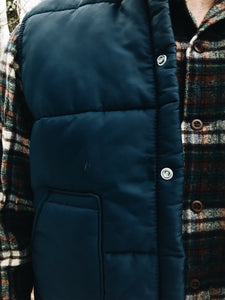 NAVY BUTTON-FRONT <BR> PUFF VEST
