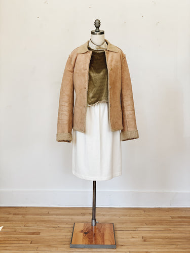 TAN SHERPA <BR> LINED JACKET