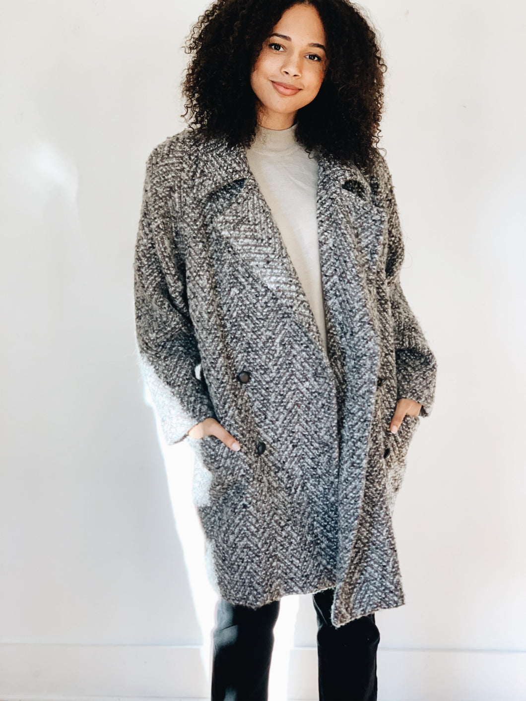 WOOL COCOON <BR> STYLE COAT