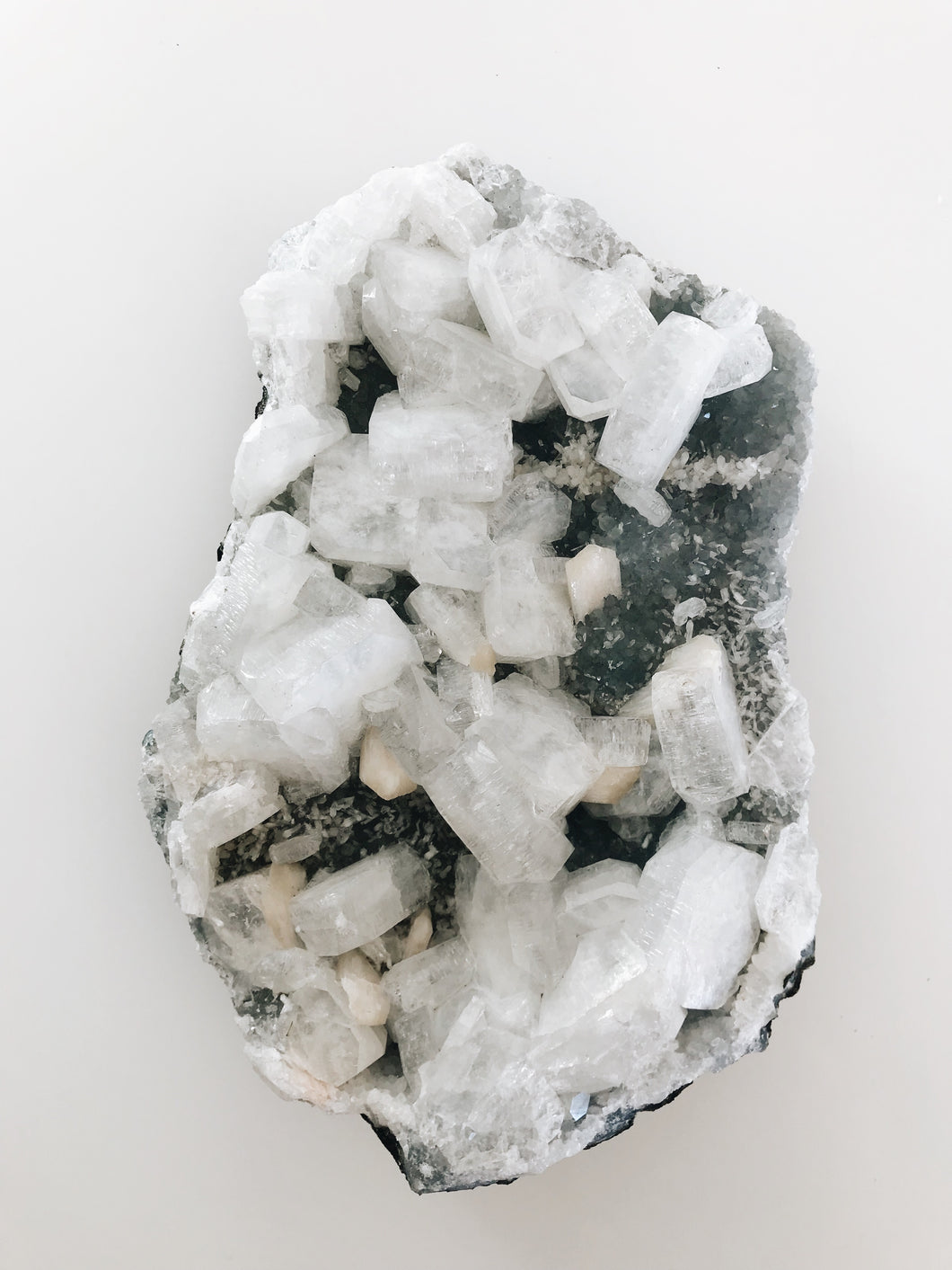 large white gray apophyllite crystal rock