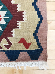 vintage handknotted tan red pink blue pattern 2x3 kilim rug