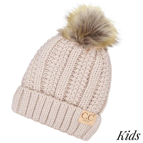 Kids C.C. Beanie with Fur Pom Pom