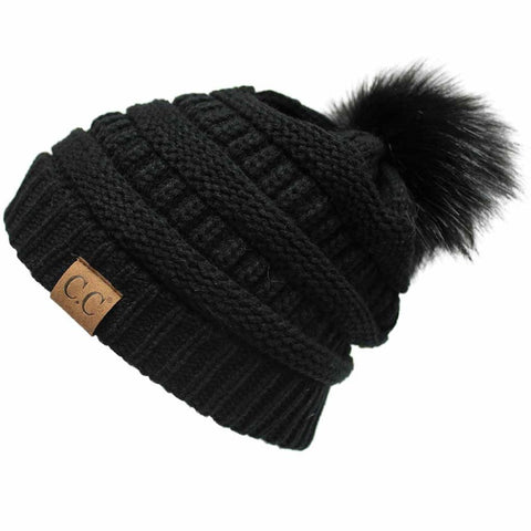 C.C Knit Beanie with Colored Pom Pom