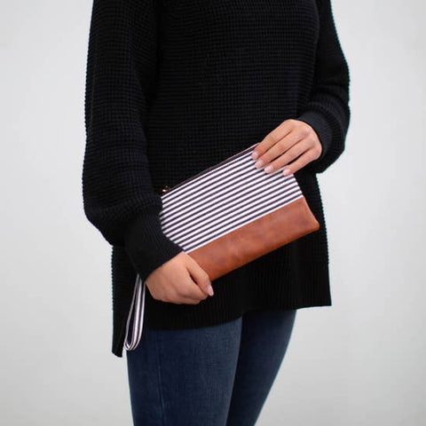 Classic Black and White Striped Wristlet