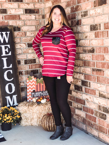 Burgundy Striped Long Sleeve with Sequin Pocket