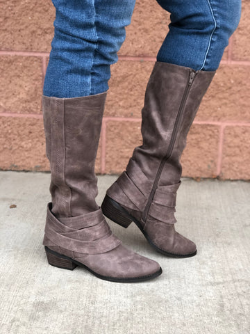 "Not Rated ""Grover"" Taupe Tall Boots"