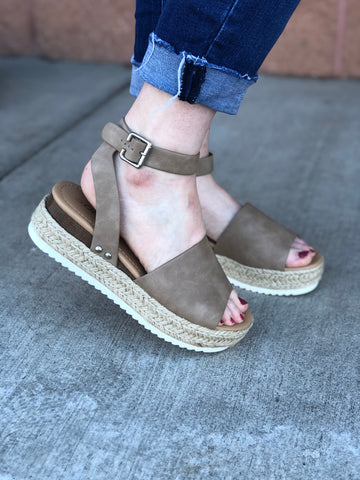 Dk. Brown Strappy Platform Sandals