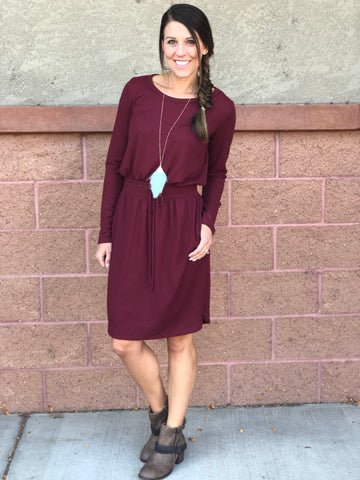Burgundy Thermal Long Sleeve Dress