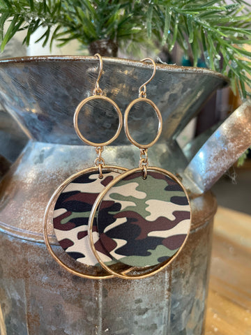 Double Layered Metal Earrings with Print