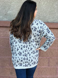 Grey Leopard Print Sweater