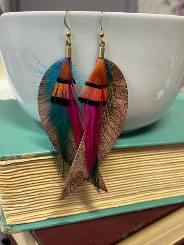 Fringed Faux Leather & Feather Earrings