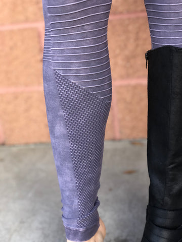 Vintage Wash Moto Leggings