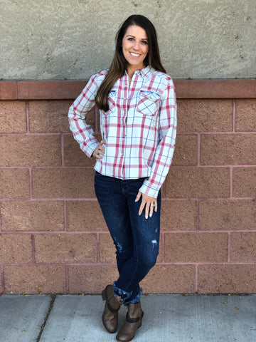 White Plaid Button Down