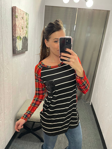 Black Striped & Plaid Long Sleeve
