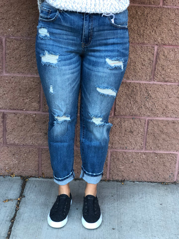 """Buckeye"" Boyfriend Distressed Jeans"