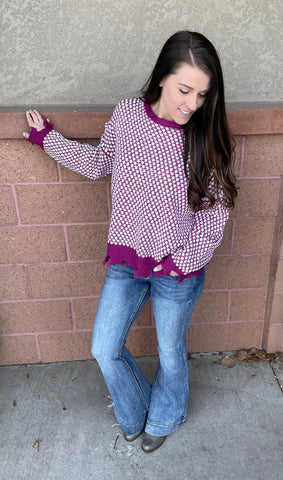 Orchid Polka Dot Frayed Sweater