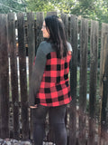 Plaid V-Neck Long Sleeve with Pocket