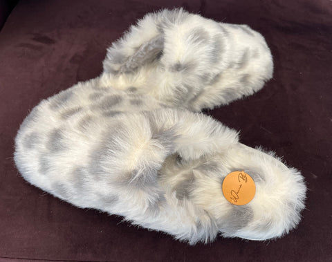 Grey Animal Print Slippers