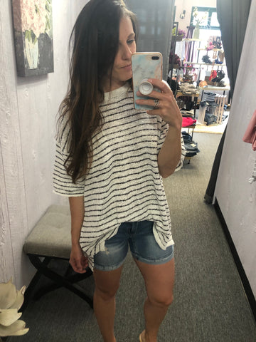 Pin Striped Knitted Short Sleeve