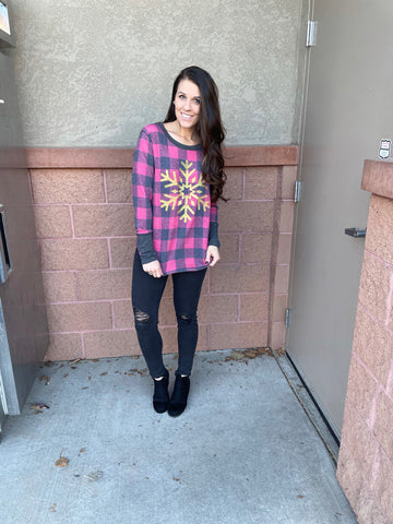 Plaid Long Sleeve With Glitter Snowflake