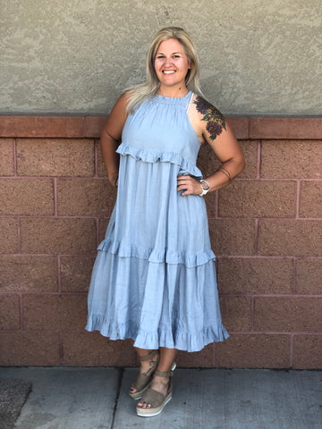 Blue Smock Ruffle Maxi Dress