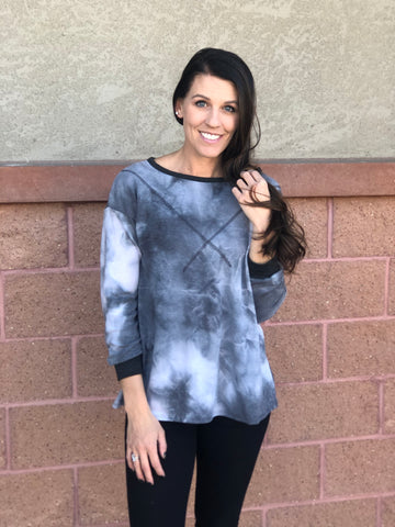 Charcoal Ivory Tie Dye Long Sleeve